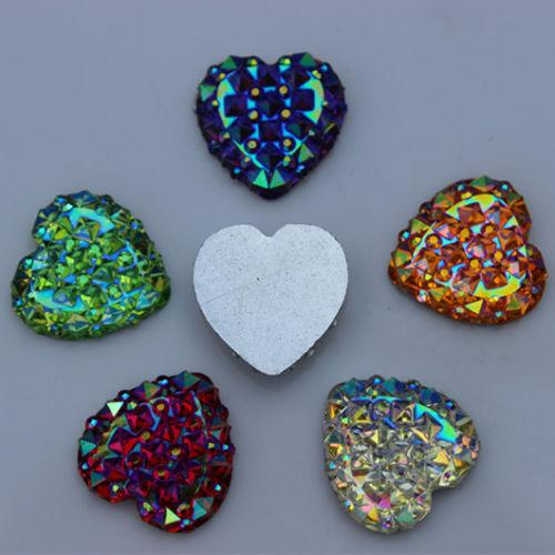 200PCS 14mm Crystal AB Color Resin Rhinestones Heart flatback Beads ZZ192