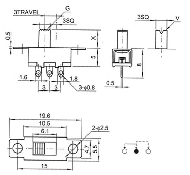 2019 3 Pin 2 Position Black Mini Size SPDT Slide Switch SS12F15VG5  Position Slide Switch Wiring Diagram on 6 prong toggle switch diagram, 3 position light switch diagram, 6 pin toggle switch diagram, throttle position sensor wiring diagram, 2 position selector switch diagram, 3 position wall switch, crankshaft position sensor wiring diagram, 3 position switch operation, 3 pole switch diagram, 2 pole switch diagram, 3 position toggle switch, 3-way toggle switch diagram, dpdt on-off-on switch diagram, 3 position switch parts, 3 position ignition switch diagram, light switch outlet diagram, ignition starter switch diagram, jeep cj headlight switch diagram, on off on toggle switch diagram,