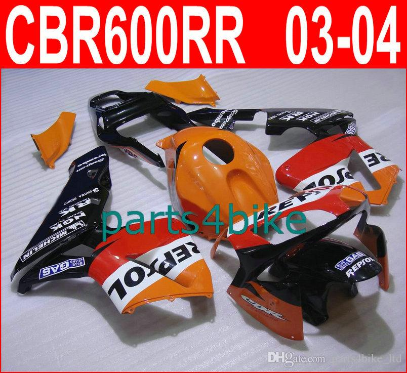 Parti del corpo arancione di marca Repsol per carene Honda CBR600RR 2003 2006 CBR 600RR 03 04 carenatura CBR 600 RR CVYD