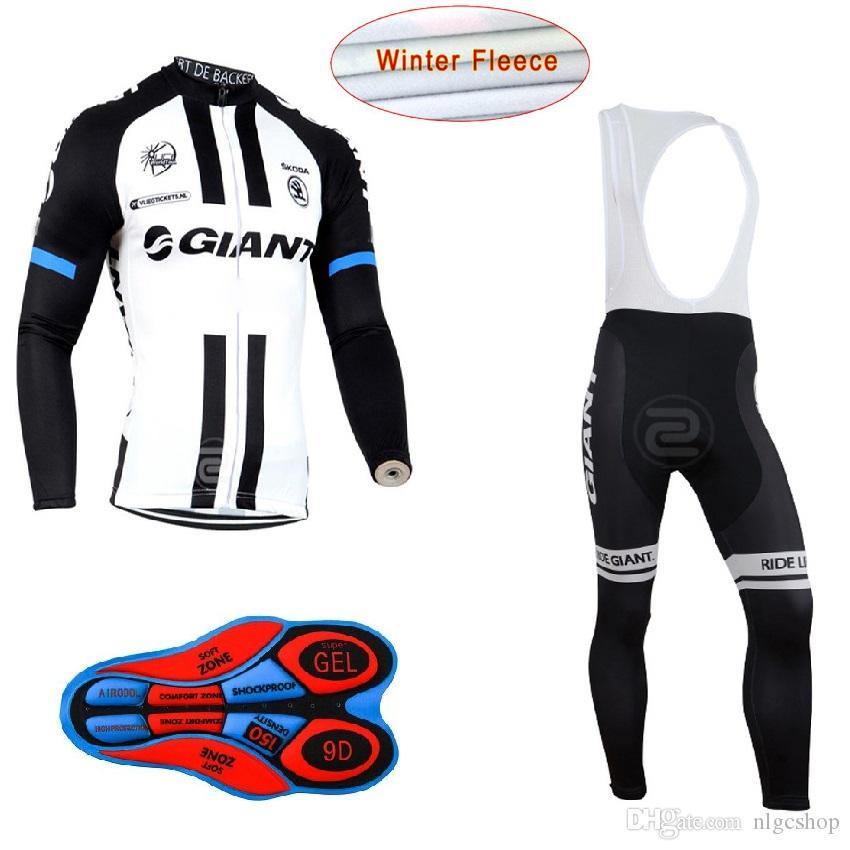 2017 Giant Winter thermische Fleece Ropa Ciclismo Langarm Pro Radtrikot / Bycle Bib lange Hosen Sets Winter Radfahren Kleidung H116