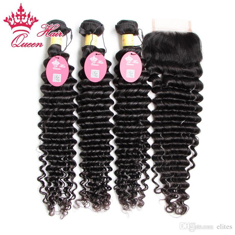 6A Peruano Virgem Cabelo 4 Pçs / lote Onda Profunda, Não processado 100% Peruano Virgem Cabelo 3 Pcs Bundle Hair Com 1 Pc Lace Fechamento, DHL Fast Shipping