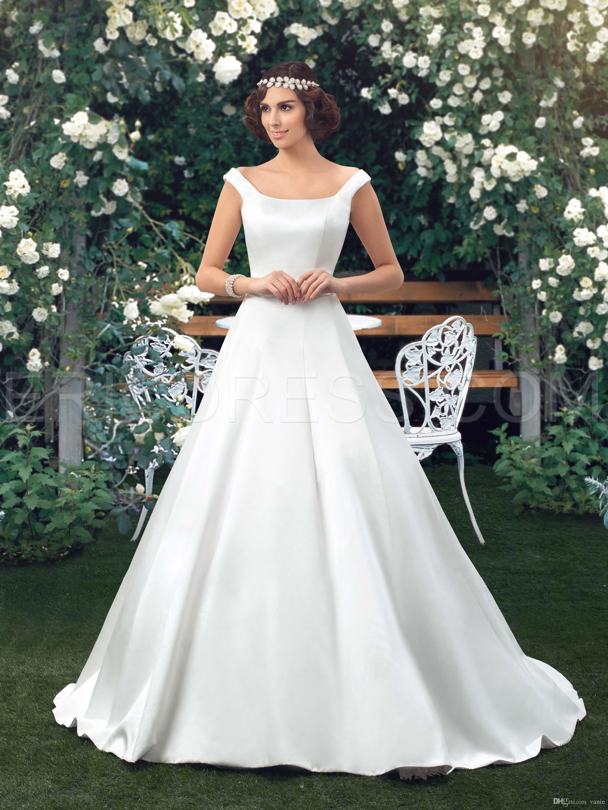 NWD23 2017 fashionable of bride simple satin wedding dress church ...
