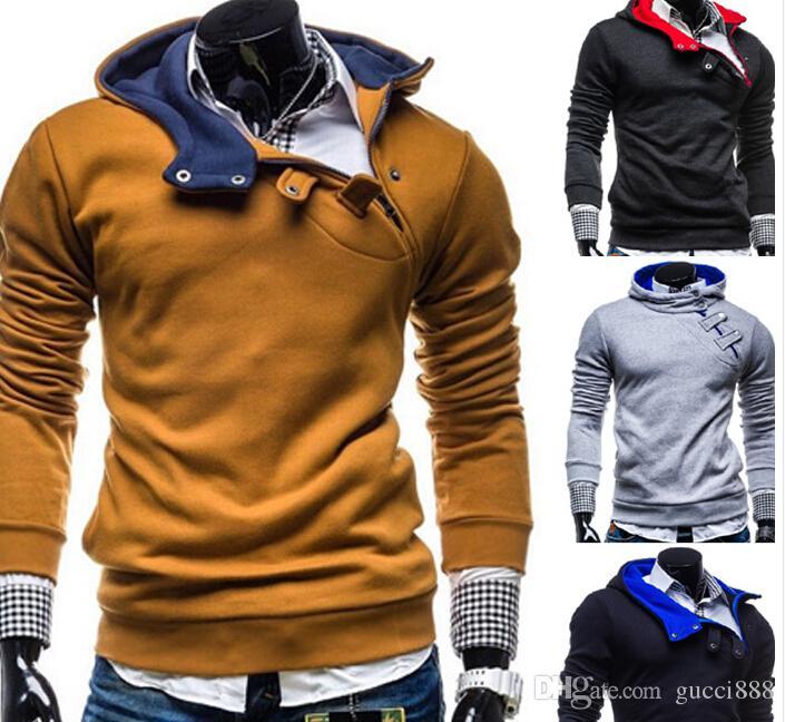 2015 nova fivela cobertura com capuz camisola homens coreano homens da moda camisola dos homens casaco jackt