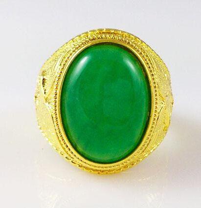 18k oro lleno de anillo para hombre China jade verde High-end ambiente ancho 14mm tamaño 9 10 11 anillo de bodas