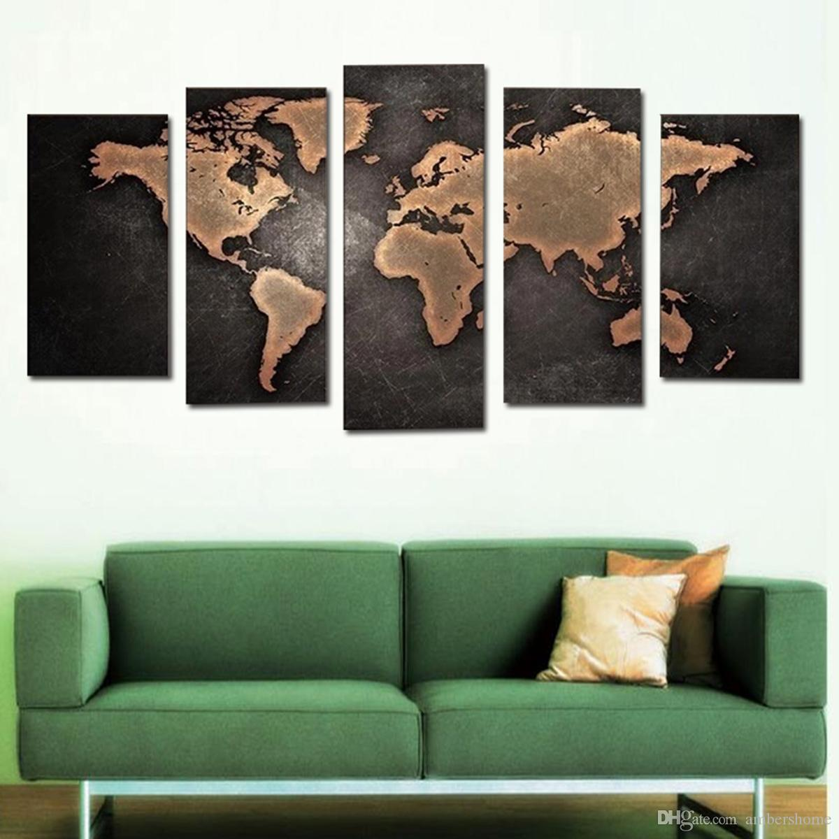 World Map Mural Hand painted Painting Canvas