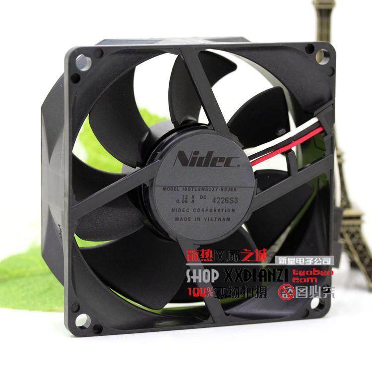 NIEUWE ORIGINAL VOOR NIDEC I80T12NS1Z7-53J65 12V 0.06A 8025 80 * 80 * 25mm Drie-draads projector Koelventilator
