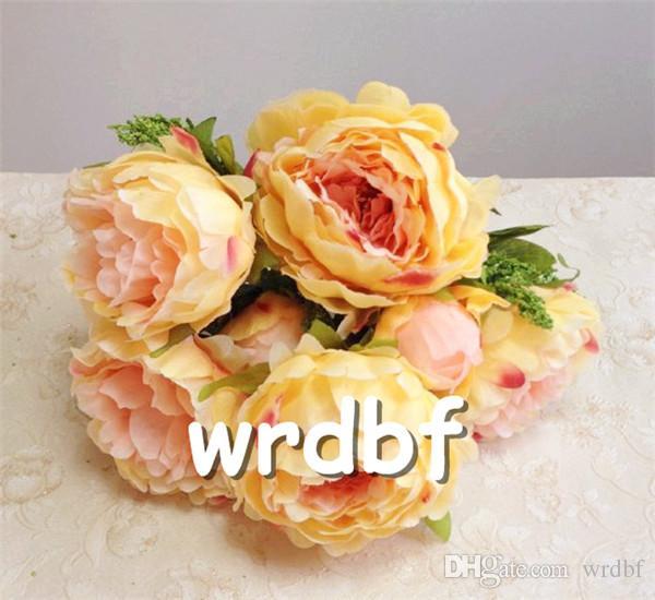 """Bir İpek Şakayık Bunch 7 kafaları ev Gelin Buketi düğün odak çiçek düzenlemeleri için 45cm / 17.72"""" yapay Şakayık çiçekleri"""