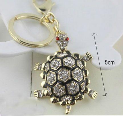 Livraison gratuite nouvelle conception cristal Cool Tortue Keychain porte-clés sac / sac à main charme cadeau réel plaqué or, porte-clés en alliage titulaire de la clé