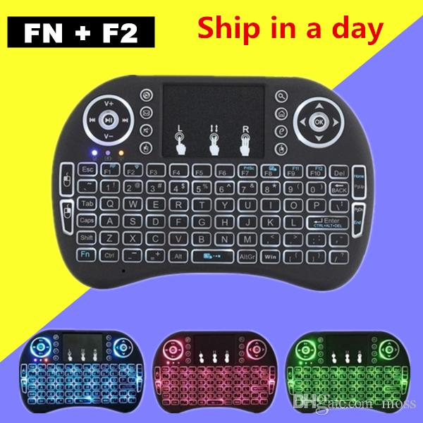 Air Mouse Remote Rii Mini I8 Android TV Boxes Keyboards Backlight 3 color Backlit 2.4GHz Wireless Keyboard for Android 7 TV Boxes