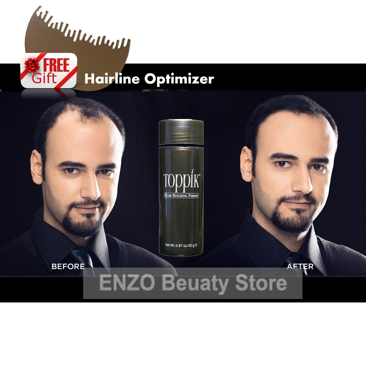 toppik hair building fibers with hairline optimizer, men women