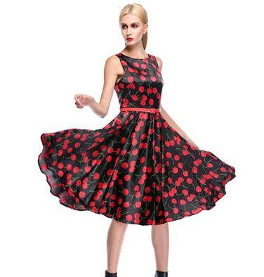 도매 - Acevog 브랜드 우수한 60의 여성 빈티지 스윙 드레스 숙녀 달콤한 체리 여름 민소매 튜닉 드레스 벨트 XXL 무료 배송
