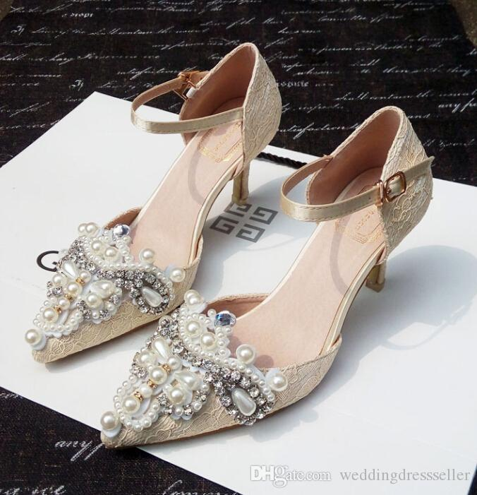 Wholesale In Stock 2016 Pointed Toe Champagne Lace Crystals Wedding Shoes Pearl Up Kitten
