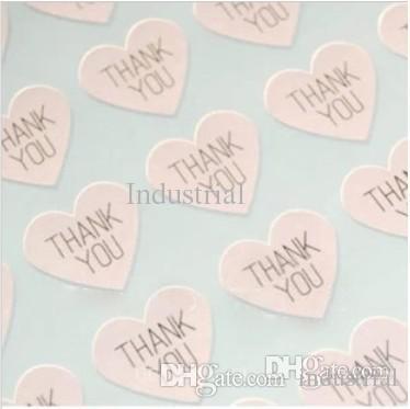 Toptan-TEŞEKKÜR EDERIM kalp tasarım Sticker Seals.3.8cm Etiketler, Düğün için mühürler mühürler, 300 adet / grup (SS-7132)