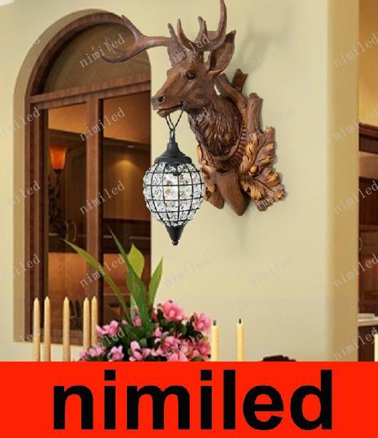 nimi534 Europeo Artigianato Creativo Lampada Da Parete Antlers Villa Bar Testa di Cervo Soggiorno Luci Ingresso Corridoio Corridoio Corridoio Illuminazione