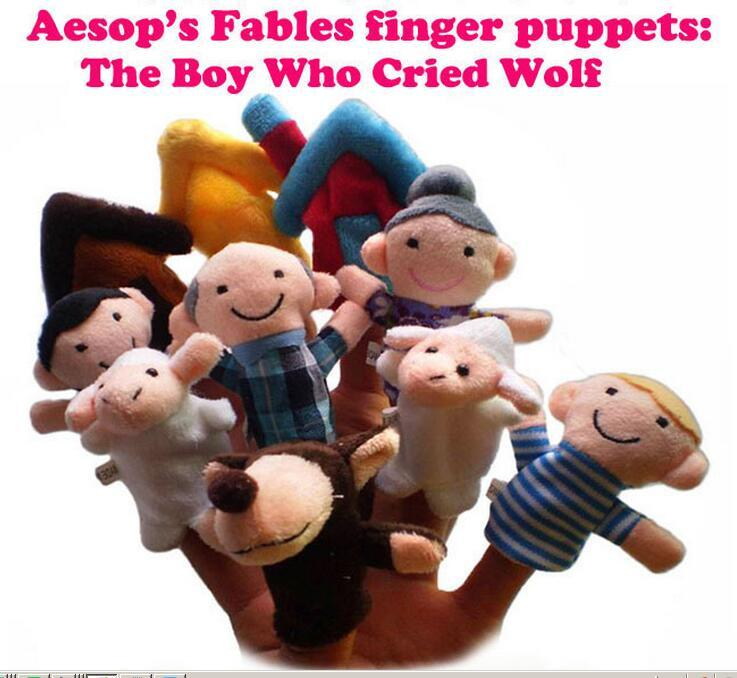 Fairy tales finger pupets hand puppets Soft cloth plush finger Puppet The Boy Who Cried Wolf 10pcs/set