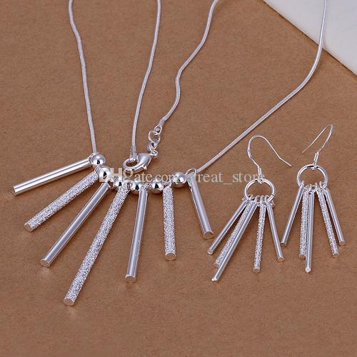 Yüksek kalitede 30g gümüş tabak takı uyum kadınları set S159, 925 gümüş kolye pandent küpe, toptan perakende