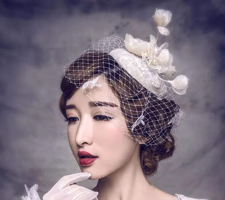 Bride Veil Comb Blusher Birdcage Tulle Ivory Champagne Flowers Feather Bridal Wedding Hots Hat Dress Free Shipping