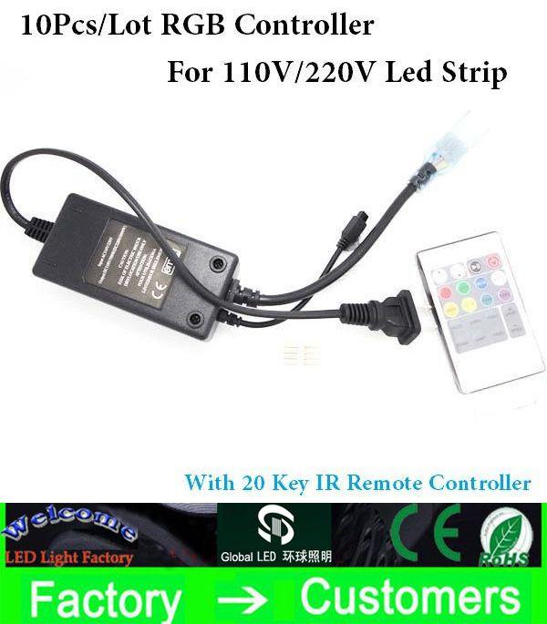 Practical 20key Infrared RGB high voltage IR remote controller for 220V / 110V 3528/5050 RGB LED strip light