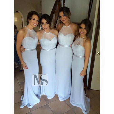 2015 nieuwe collectie bruidsmeisje jurken halter sheer tule lint sjerp lente trouwjurken lichte hemel blauwe zeemeermin bruiloft avondjurk