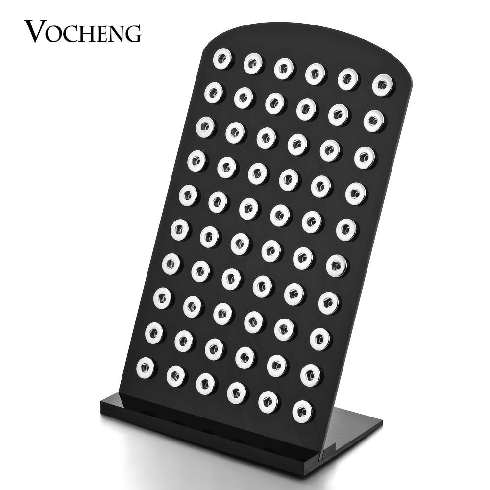 VOCHENG NOOSA أسود شفاف أكريليك المفاجئة تقف عرض مجموعة انفصال 5.3inch * 8.7inch ل 12 MM زر المفاجئة Vn-458