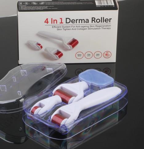 Rullo Derma 4 in 1 Aghi in acciaio inox Rullo Derma DRS Con 3 testine (1200 + 720 + 300 aghi) Kit rullo Derma per rimozione dell'acne