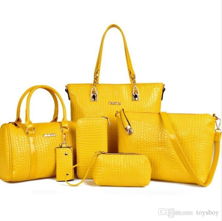 حقائب جلدية فاخرة 6pcs / Set تصميم للمرأة ذات جودة عالية حقيبة الكتف الإناث سعر الجملة الحرة الشحن