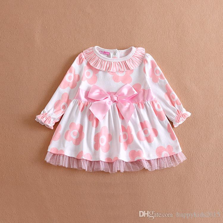 2018 2016 spring baby girl dress 9m 24m newborn baby cotton long sleeved dress cute bow flower leopard girls dress t94 from happykids2015 8 55 dhgate