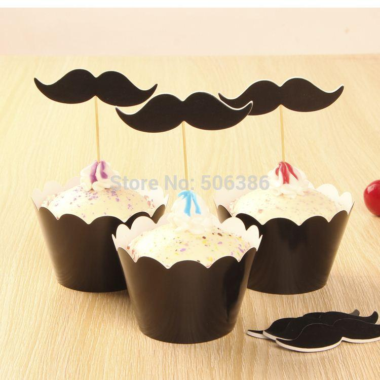 24pcs mustache cupcake wrappers & toppers picks,kids birthday party favors supplies,Festival/wedding cake decoration