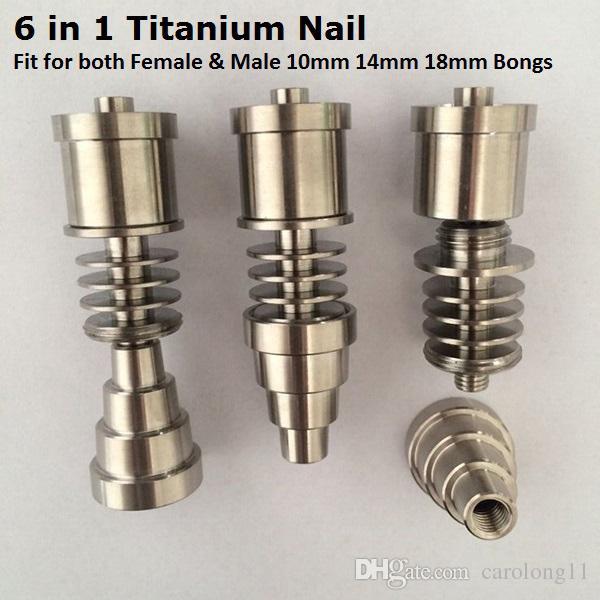 Gr2 G2 Kubbesiz Titanyum Ti Tırnak 6 In 1 Hem Erkek Kadın için Fit 10mm 14mm 18mm Cam Bong Su borusu Elektronik Dabber için Tırnak Kutusu Kiti