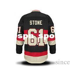 2016 NIEUW, # 61 Mark Stone Youth Jerseys Kid's borduurwerk en gestikte Ottawa Ice Hockey Jerseys S / M L / XL Zwart rood wit