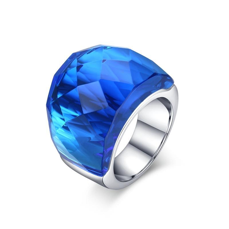 Vintage duże kamienia pierścienie dla kobiet kolorowe biżuteria wesele przyjęcie świąteczne prezent