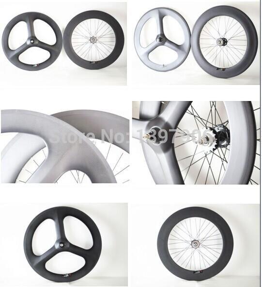 3k matt 700c 3-spokes 70mm front clincher wheel and rear 88mm clincher wheel with 23mm width for track bike with fixed gear