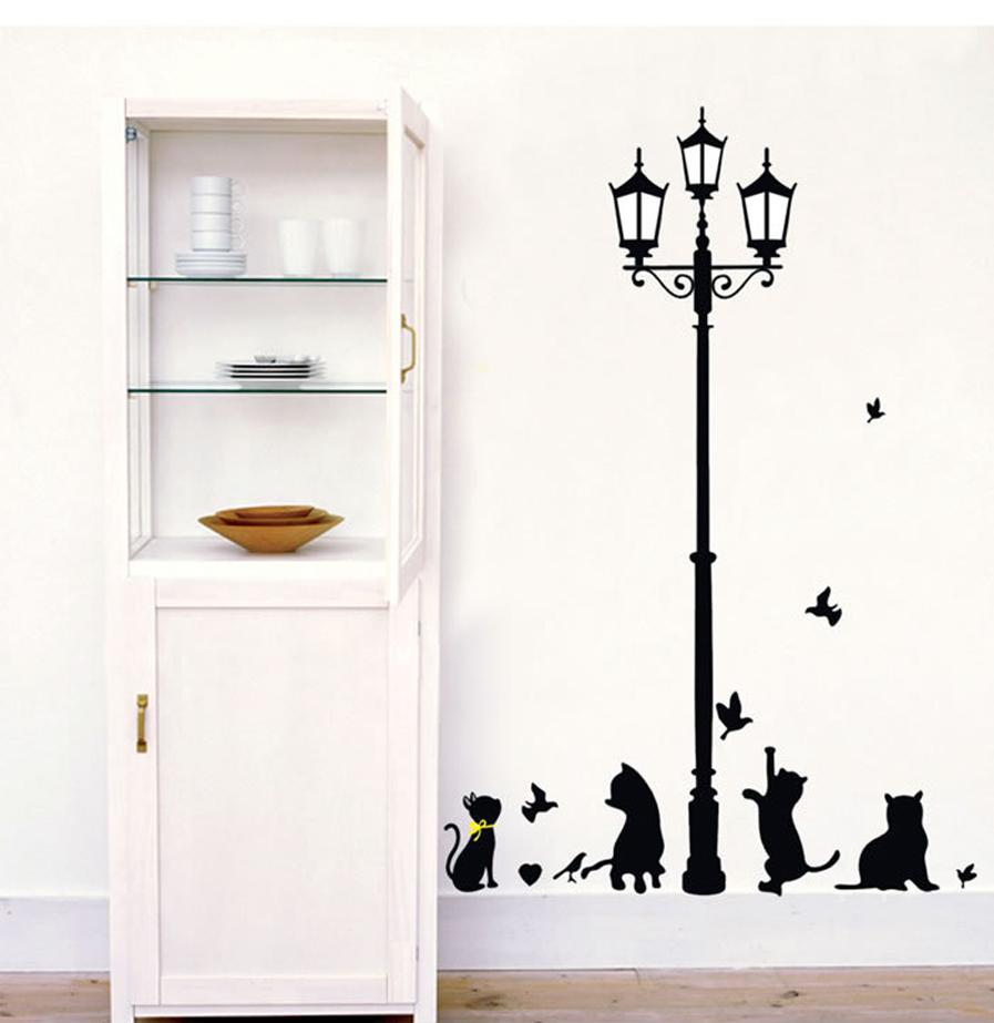 Wall stickers cat - New Arrival Cat Wall Sticker Lamp And Butterflies Stickers Decor Decals For Walls Vinyl Removable