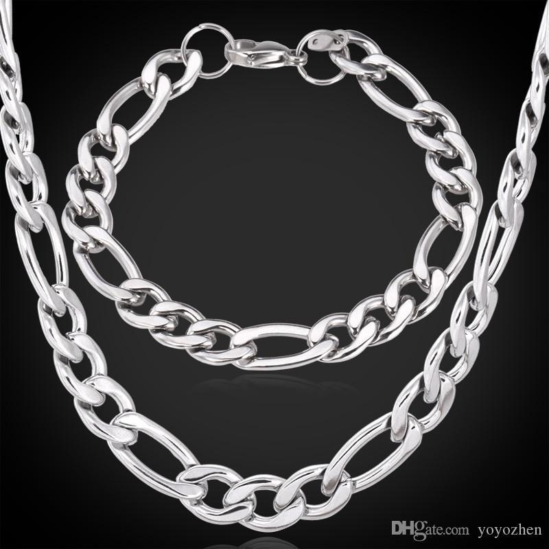 Nuevo acero inoxidable 316L fornido Figaro cadenas collar pulseras para hombres calidad joyería fresca NUNCA FADE 9MM 22 pulgadas YLS201