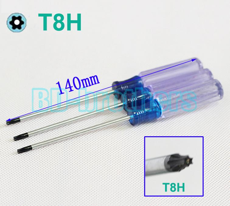 3.0 x 140mm 투명 손잡이 T8H 스크루 드라이버 T8 구멍 안전 Torx 스크루 드라이버 for X360 XBOX 360 애플 컴퓨터 OEM 120pcs / lot