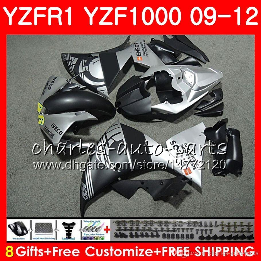Body For YAMAHA YZF 1000 R 1 YZFR1 09 10 11 12 Matte silvery Bodywork 85NO6 YZF1000 YZF R1 2009 2010 2011 2012 YZF-1000 YZF-R1 09 12 Fairing