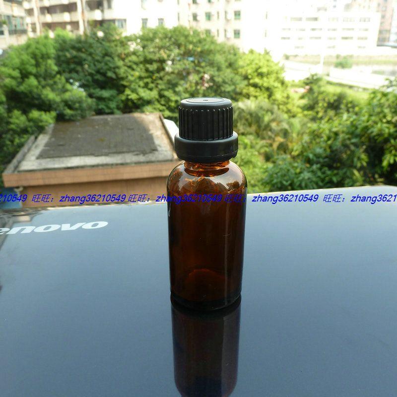 30ml 갈색 / 호박색 유리 에센셜 오일 병 검정 플라스틱 도난 방지 캡. 오일 바이알, 에센셜 오일 용기