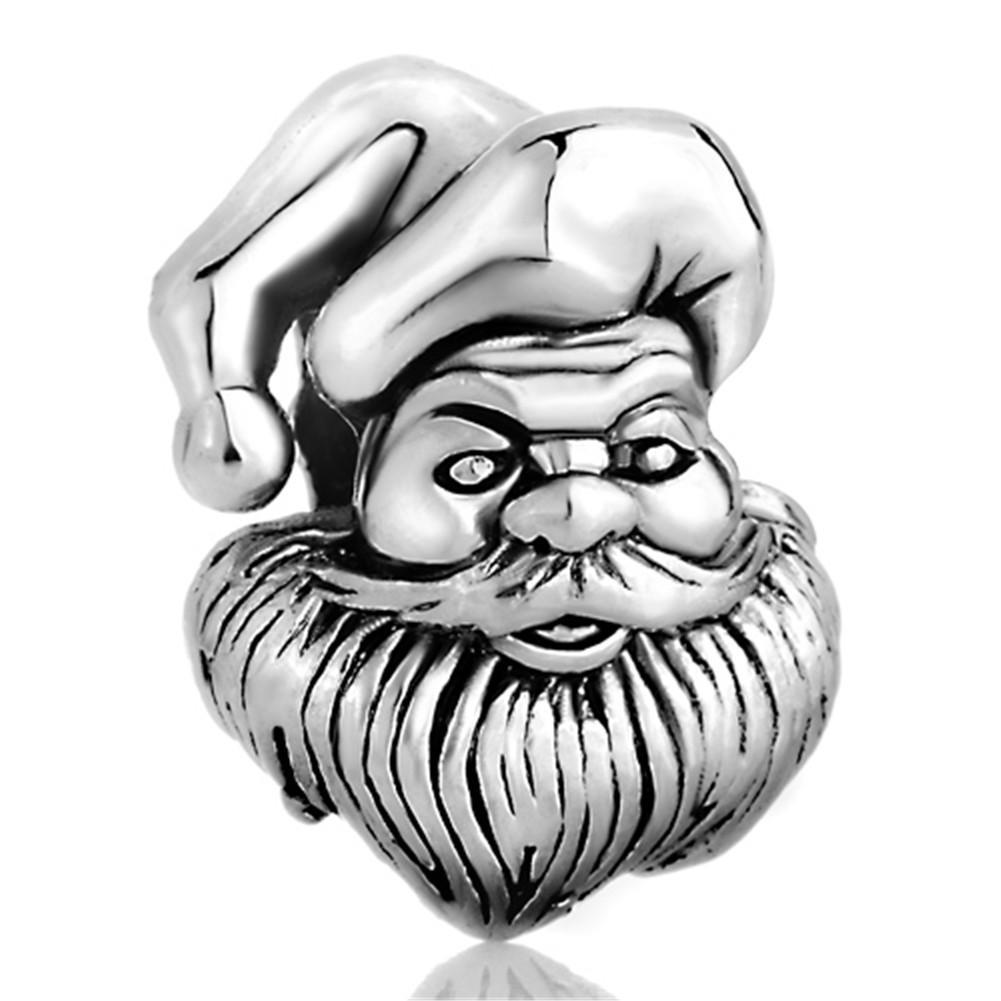 10 шт. за лот продажа родиевое покрытие Рождественский Шарм Санта-Клаус Европейский шарик Fit Pandora DIY браслет