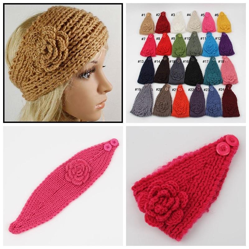 Kobiety Szydełka Pałąk Knit Hairband Flower Winter Ear Ciepszy Headwrap Crochet Flower Ear Ciepszy Włosów Akcesoria Do Włosów Darmowa Wysyłka