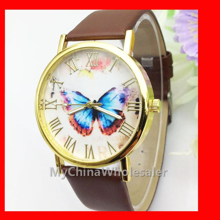 6 Multi Colors Dress Watches New Leather Band Stylish Butterfly Fashion Women's Wristwatches Rome Numbers no Scale Geneva Watch Quartz Auto