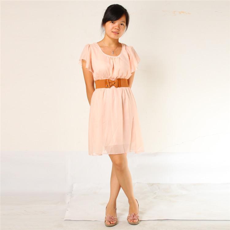 نقية اللون الكورية المرأة الشيفون الدانتيل قصيرة الأكمام اللباس الوردي حزام البني