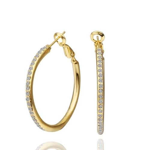 3.5cm Dia Alloy Yellow Gold Plated High Shine Click Closure Round Hoop Earrings With CZ 1 Pair