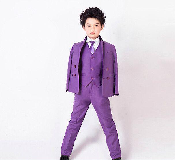 Çocuk takım elbise ceket Saf renk erkek çocuk takım elbise Erkek çiçek kız elbise baharyaz 3 parça (ceket + pantolon + yelek) ...