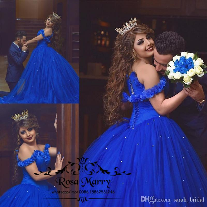 Royal Blue Cinderella Ball Gown Wedding Dresses 3d Flowers Off Shoulder Arabic Muslim Crystals Tulle Skirt 2020 Victorian Cheap Bridal Gowns Huge Ball