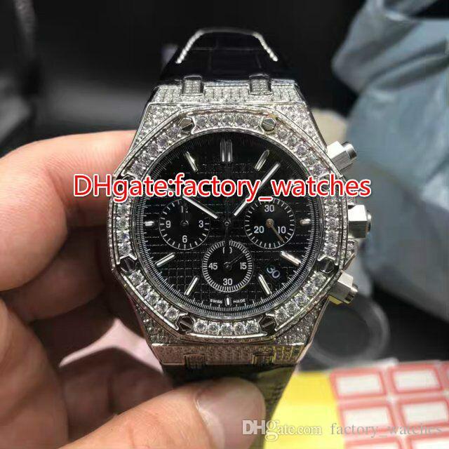 Montre à quartz pleine montre quartz chronographe œuvres complètes montre homme montre-bracelet de luxe bracelet en cuir noir en acier inoxydable montres