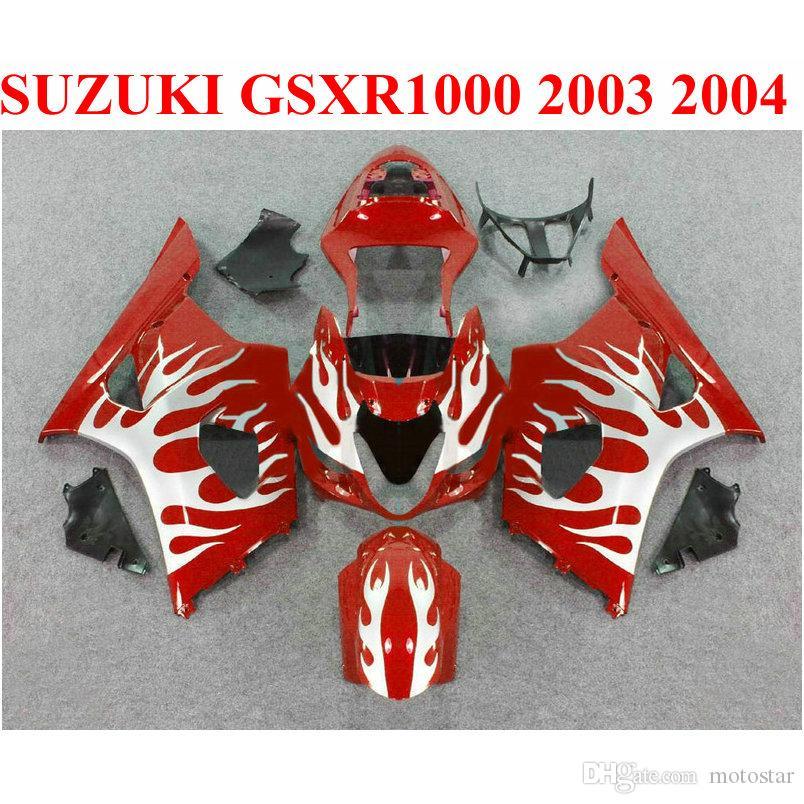 Пластиковый комплект кузова для SUZUKI GSXR 1000 K3 K4 2003 2004 белое пламя в красный обтекатель комплект GSX-R1000 03 04 обтекатели комплект BP24