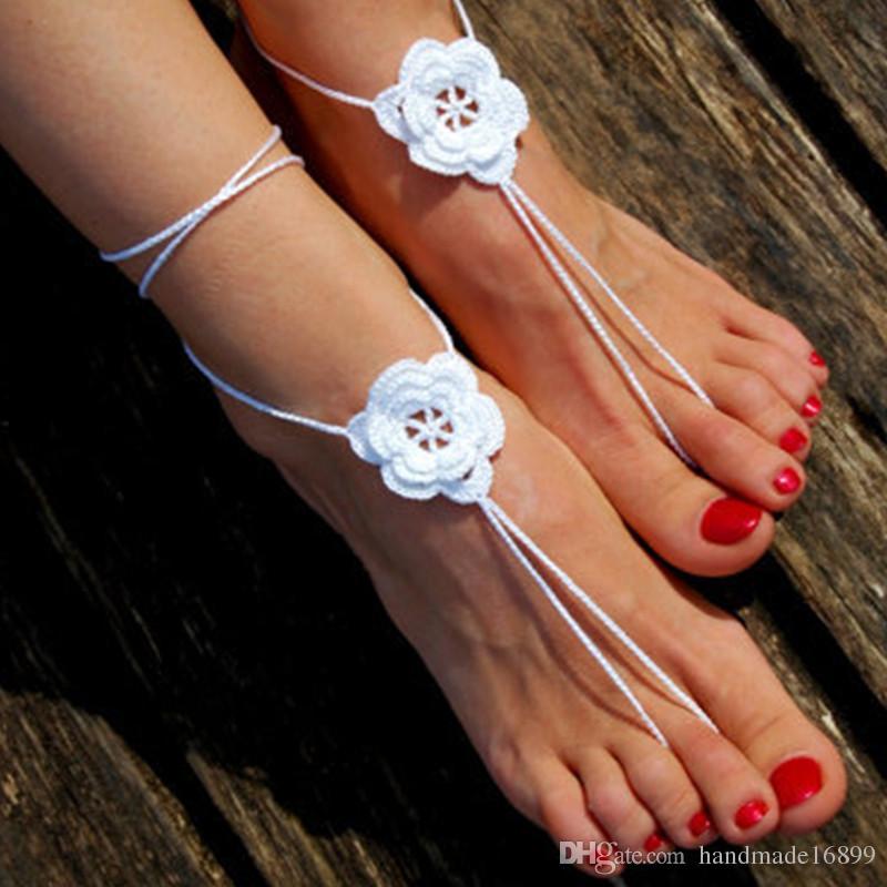 Handmade Beach Wedding Shoes, Crochet Barefoot Sandals,Wedding Accessories, Nude Shoes, Yoga , Foot Jewelry sandals