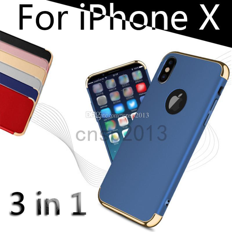Ultra Thin Full Protection Electroplated 3 in 1 Case Hard PC Cell Phone Luxury Back Cover for iPhone 6s 7 8 X Plus Samsung Galaxy S8 Note 8
