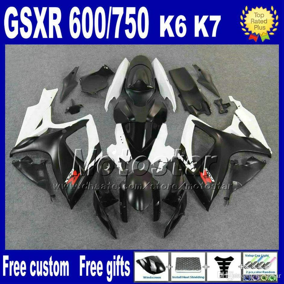 ABS fairing kit for 2006 2007 SUZUKI GSXR 600 750 GSX-R600 GSX-R750 06 07 K6 white black customize fairings sets FS49 + Seat cowl