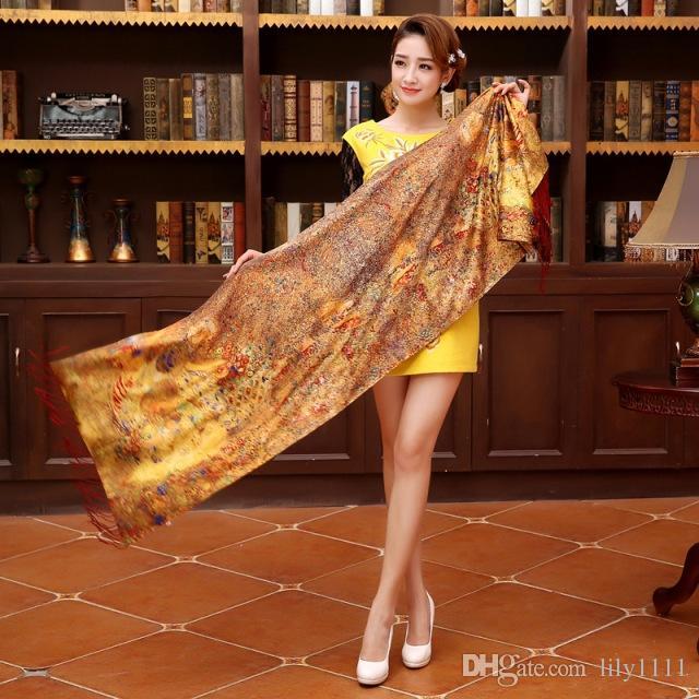Shanghai Story Top qualità 100% sciarpa di seta strati duble spazzolato cashmere donne seta pashmina nappa 190 * 52 lungo (No.21-NO.30)